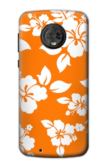 Printed Hawaiian Hibiscus Orange Pattern Motorola Moto G6 Case