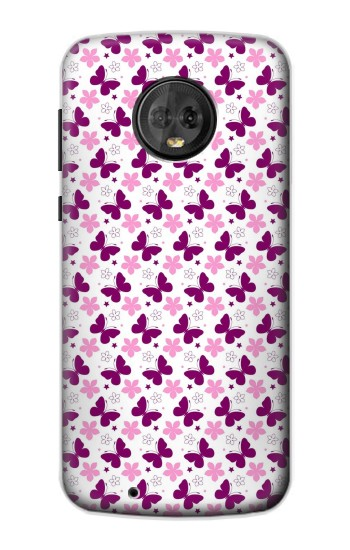 Printed Butterfly and Flower Pattern Motorola Moto G6 Case