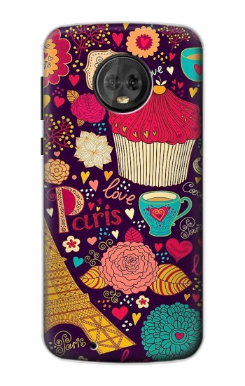 Printed Paris Cartoon Vintage Pattern Motorola Moto G6 Case