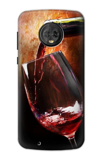 Printed Red Wine Bottle And Glass Motorola Moto G6 Case