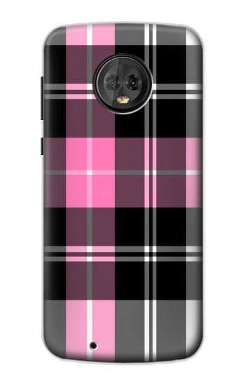 Printed Pink Plaid Pattern Motorola Moto G6 Case
