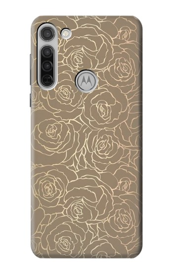Printed Gold Rose Pattern Motorola Moto G8 Case