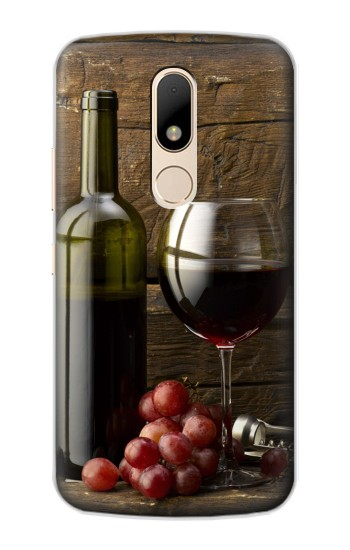 Printed Grapes Bottle and Glass of Red Wine Motorola Moto E Case