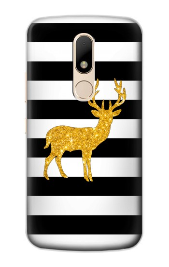 Printed Black and White Striped Deer Gold Sparkles Motorola Moto E Case
