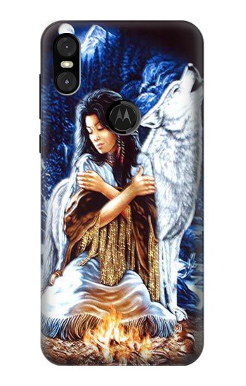 Printed Grim Wolf Indian Girl Motorola One (Moto P30 Play) Case