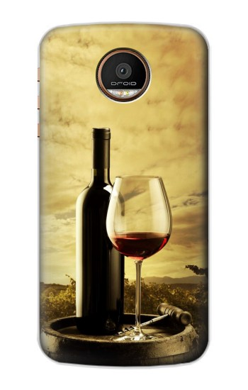 Printed A Grape Vineyard Grapes Bottle and Glass of Red Wine Motorola Moto Z Force Case