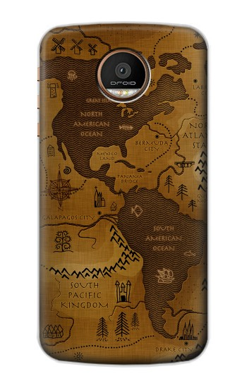 Printed Antique Style Map Motorola Moto Z Force Case