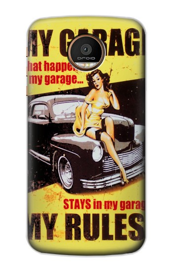 Motorola Moto Z Force, Z Play My Garage Pinup Girl Case Cover