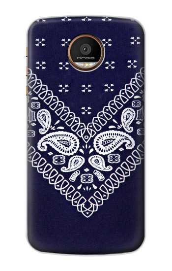 Printed Navy Blue Bandana Pattern Motorola Moto Z Force Case