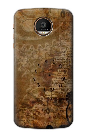 Printed Vintage Paper Clock Steampunk Motorola Moto Z Force Case