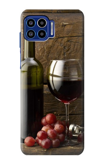 Printed Grapes Bottle and Glass of Red Wine Motorola One 5G Case