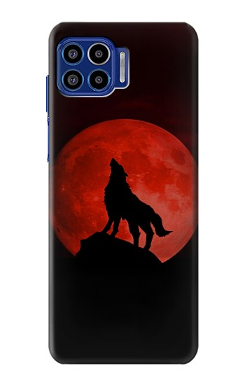 Printed Wolf Howling Red Moon Motorola One 5G Case