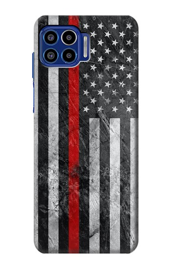 Printed Firefighter Thin Red Line American Flag Motorola One 5G Case
