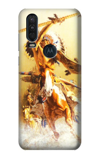 Printed Red Indian Warrior Motorola One Action (Moto P40 Power) Case