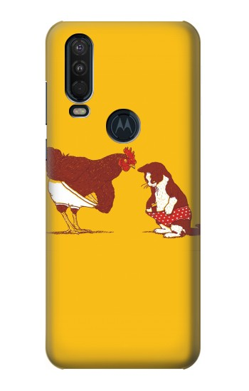 Printed Rooster and Cat Joke Motorola One Action (Moto P40 Power) Case
