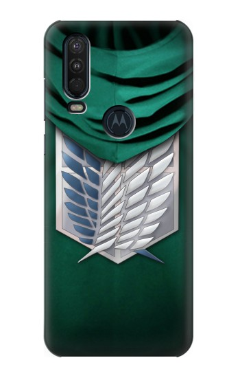 Printed Attack on Titan Scouting Legion Rivaille Green Cloak Motorola One Action (Moto P40 Power) Case