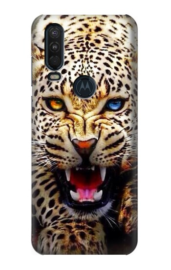 Printed Blue Eyed Leopard Motorola One Action (Moto P40 Power) Case