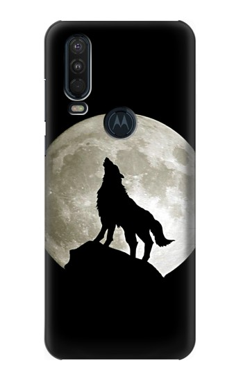 Printed Wolf Howling at The Moon Motorola One Action (Moto P40 Power) Case