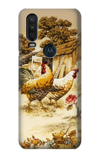 Printed French Country Chicken Motorola One Action (Moto P40 Power) Case
