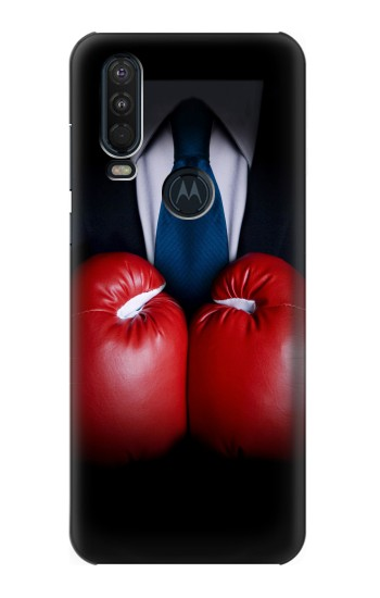 Printed Businessman In Black Suit With Boxing Gloves Motorola One Action (Moto P40 Power) Case
