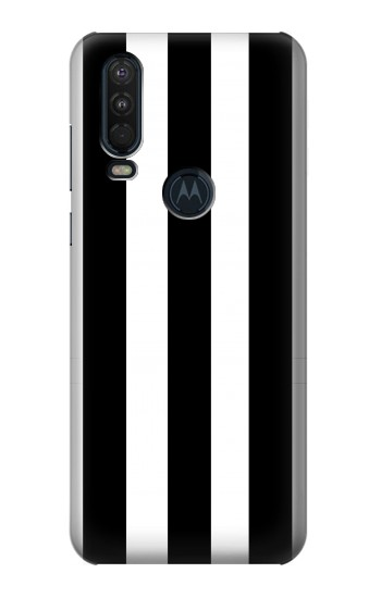 Printed Black and White Vertical Stripes Motorola One Action (Moto P40 Power) Case