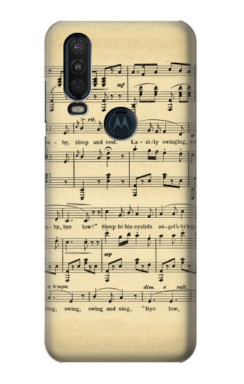 Printed Vintage Music Sheet Motorola One Action (Moto P40 Power) Case