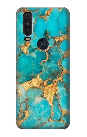 Printed Aqua Turquoise Stone Motorola One Action (Moto P40 Power) Case