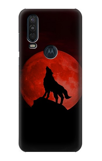 Printed Wolf Howling Red Moon Motorola One Action (Moto P40 Power) Case