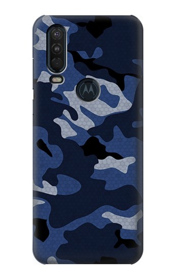 Printed Navy Blue Camouflage Motorola One Action (Moto P40 Power) Case