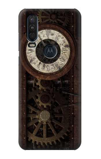 Printed Steampunk Clock Gears Motorola One Action (Moto P40 Power) Case