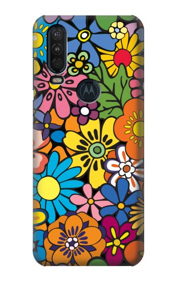 Printed Colorful Flowers Pattern Motorola One Action (Moto P40 Power) Case
