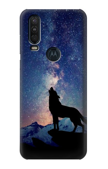 Printed Wolf Howling Million Star Motorola One Action (Moto P40 Power) Case