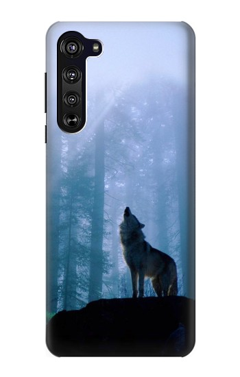 Printed Wolf Howling in Forest Motorola Edge Case