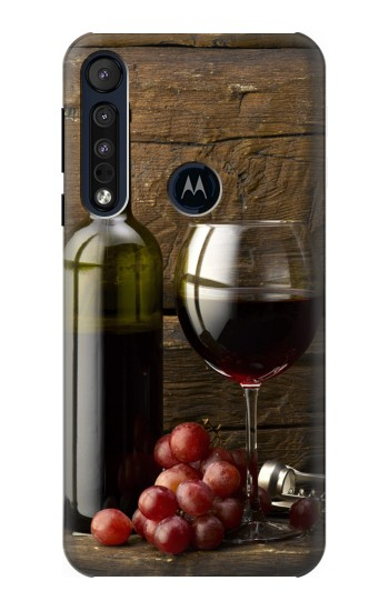 Printed Grapes Bottle and Glass of Red Wine Motorola One Macro Case