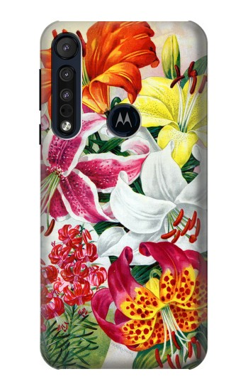 Printed Retro Art Flowers Motorola One Macro Case