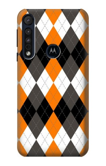 Printed Black Orange White Argyle Plaid Motorola One Macro Case
