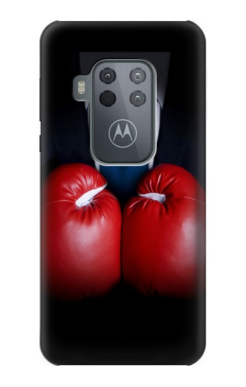 Printed Businessman In Black Suit With Boxing Gloves Motorola One Zoom Case