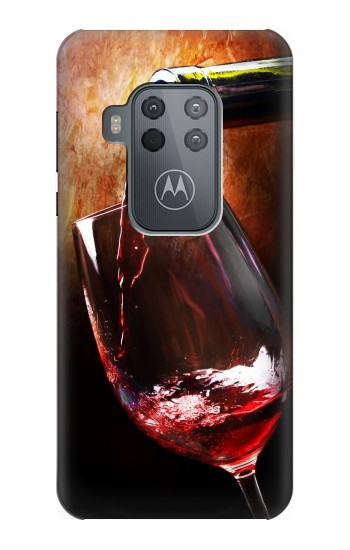 Printed Red Wine Bottle And Glass Motorola One Zoom Case