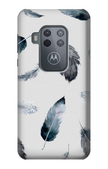 Printed Feather Paint Pattern Motorola One Zoom Case