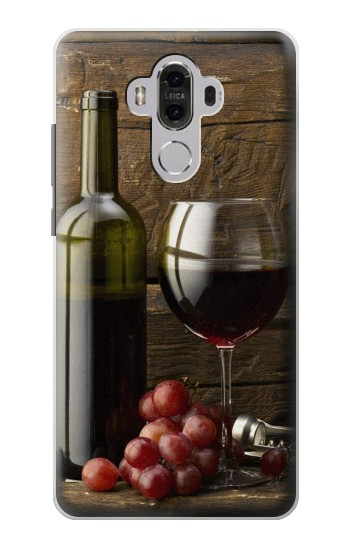 Printed Grapes Bottle and Glass of Red Wine Huawei Mate 8 Case
