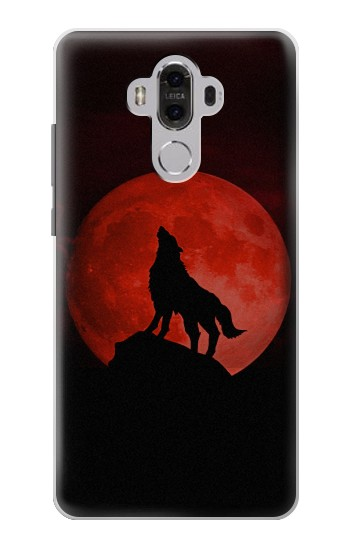 Printed Wolf Howling Red Moon Huawei Mate 8 Case
