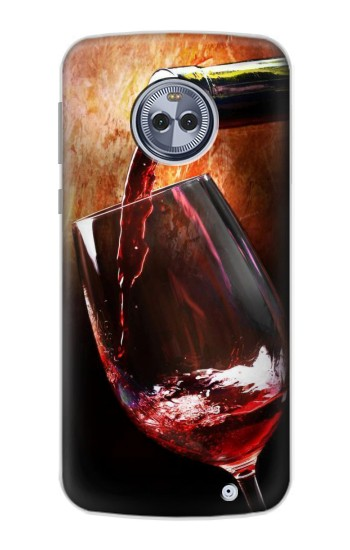 Printed Red Wine Bottle And Glass Motorola Moto X4 Case
