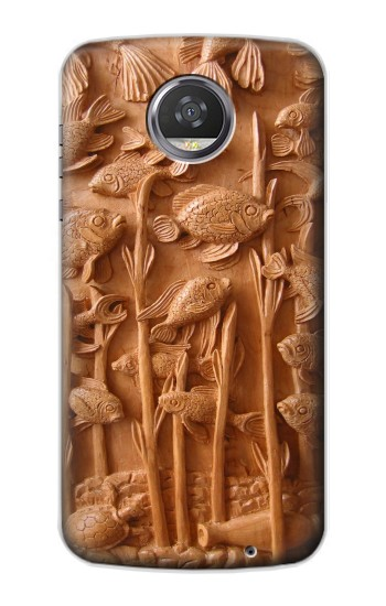 Printed Fish Wood Carving Graphic Printed HTC Desire 310 Case
