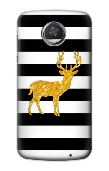 Printed Black and White Striped Deer Gold Sparkles HTC Desire 310 Case