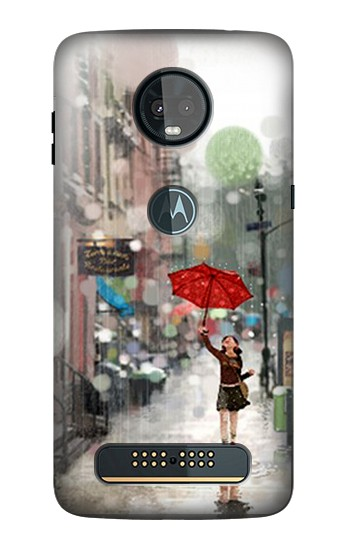 Printed Girl in The Rain Motorola Moto Z3, Z3 Play Case