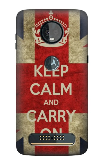 Printed Keep Calm and Carry On Motorola Moto Z3, Z3 Play Case