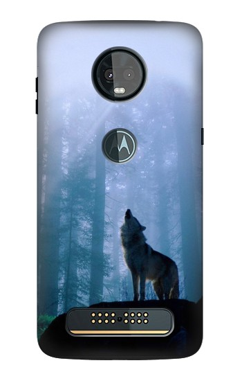 Printed Wolf Howling in Forest Motorola Moto Z3, Z3 Play Case