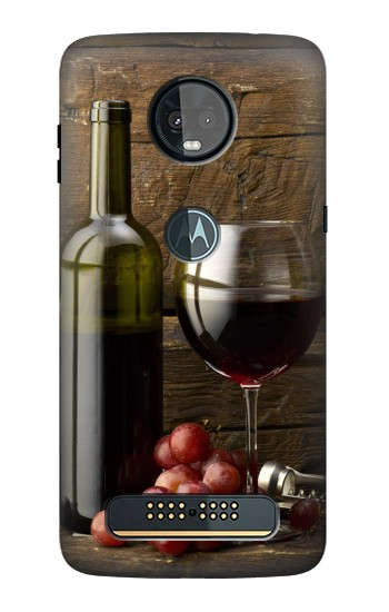 Printed Grapes Bottle and Glass of Red Wine Motorola Moto Z3, Z3 Play Case