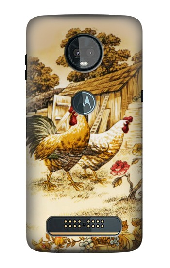 Printed French Country Chicken Motorola Moto Z3, Z3 Play Case