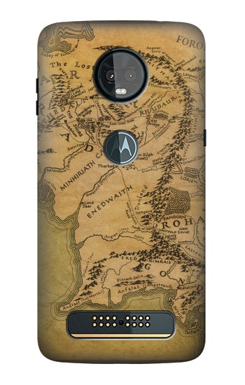 Printed The Lord Of The Rings Middle Earth Map Motorola Moto Z3, Z3 Play Case
